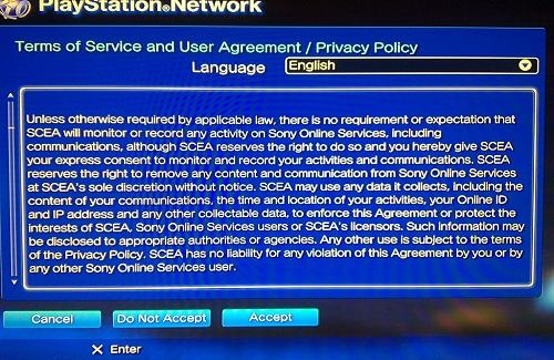 Who hasn't accepted Sony's new Terms of Service Agreement?